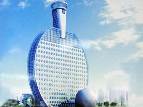 Ping Pong Paddle Shaped Hotel in China
